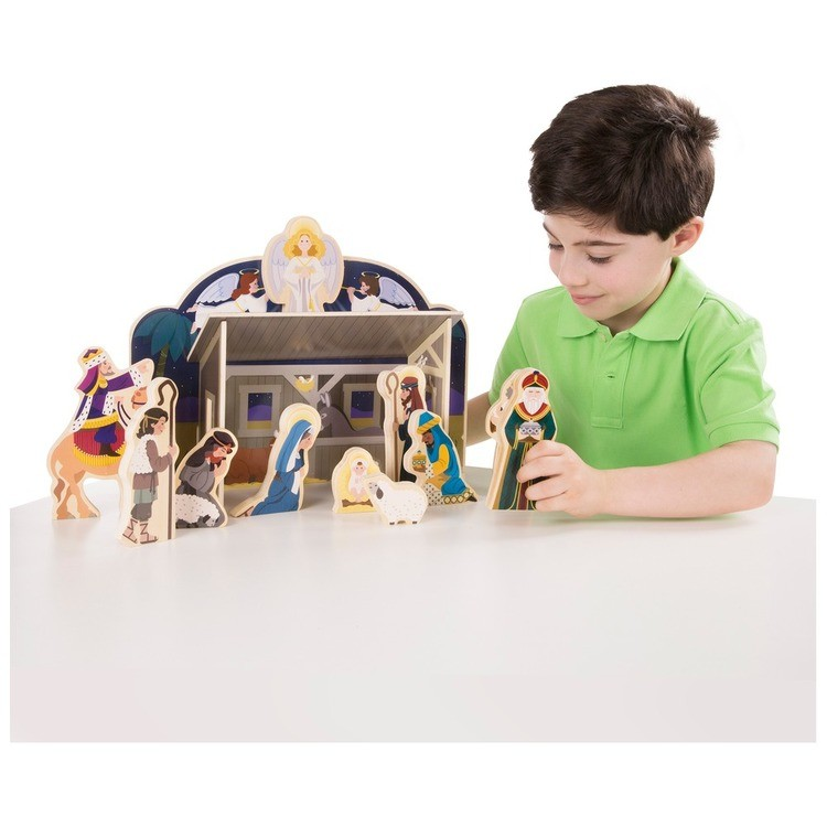 competitive Melissa & Doug Classic Wooden Christmas Nativity Set With 4-Piece Stable and 11 Wooden Figures reasonable cheap
