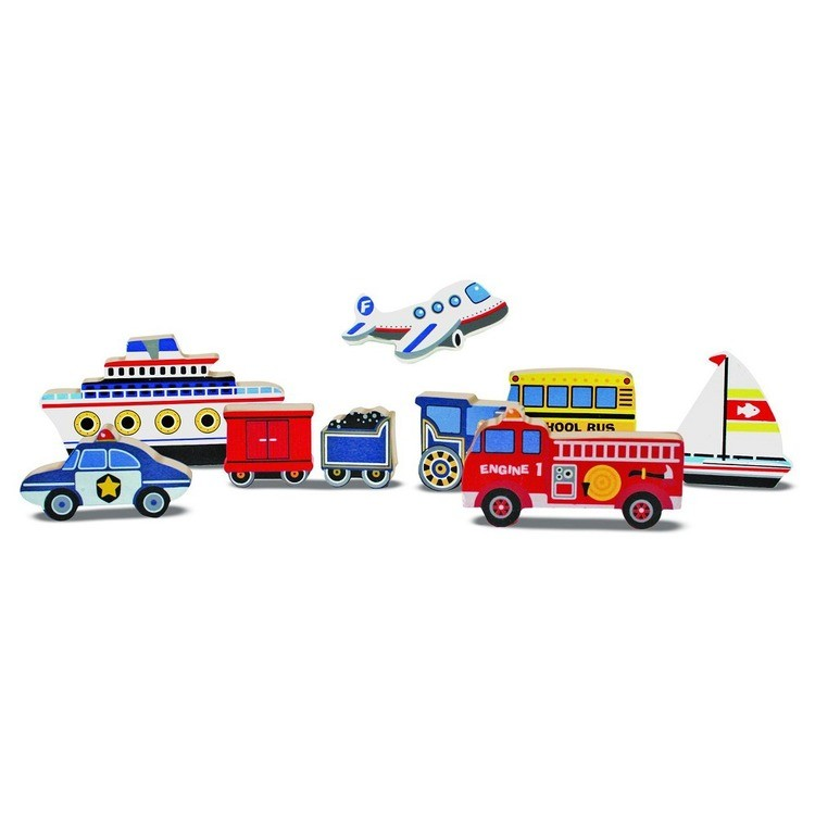 reasonable Melissa & Doug Wooden Chunky Puzzles Set - Vehicles and Construction 15pc competitive cheap