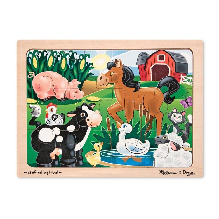 cheap Melissa & Doug Wooden Jigsaw Puzzles Set: Vehicles, Pets, Construction, and Farm 4 puzzles 48pc competitive reasonable