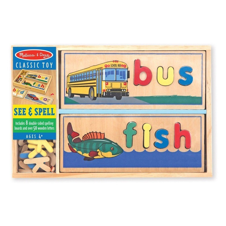 competitive Melissa & Doug See & Spell Wooden Educational Toy With 8 Double-Sided Spelling Boards and 64 Letters reasonable cheap