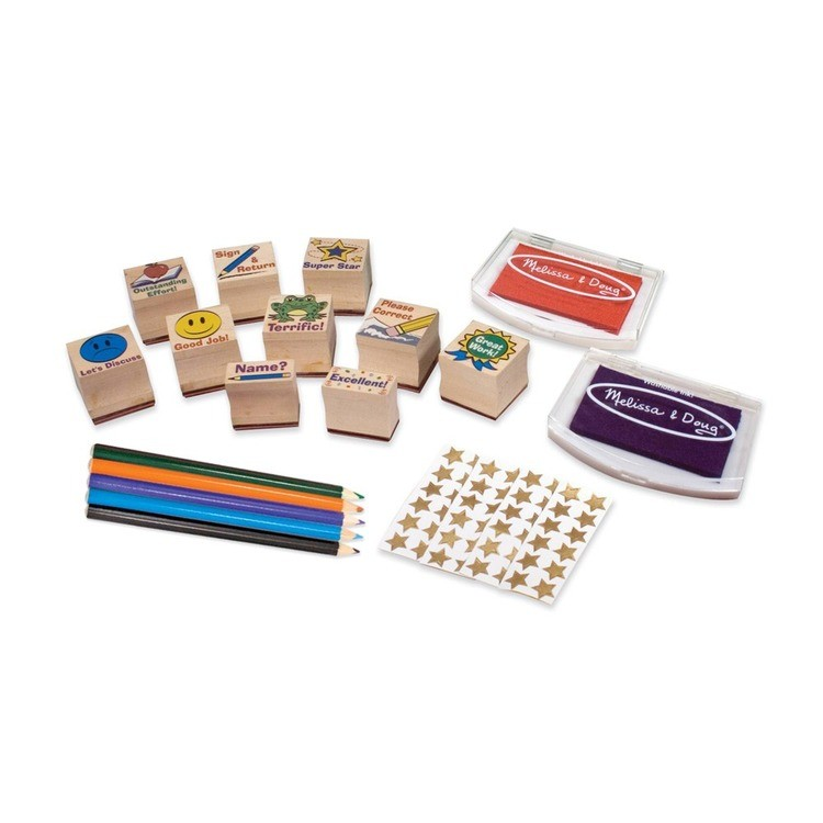 competitive Melissa & Doug Wooden Classroom Stamp Set With 10 Stamps, 5 Colored Pencils, 4 Sticker Sheets, and 2-Colored Stamp Pad reasonable cheap