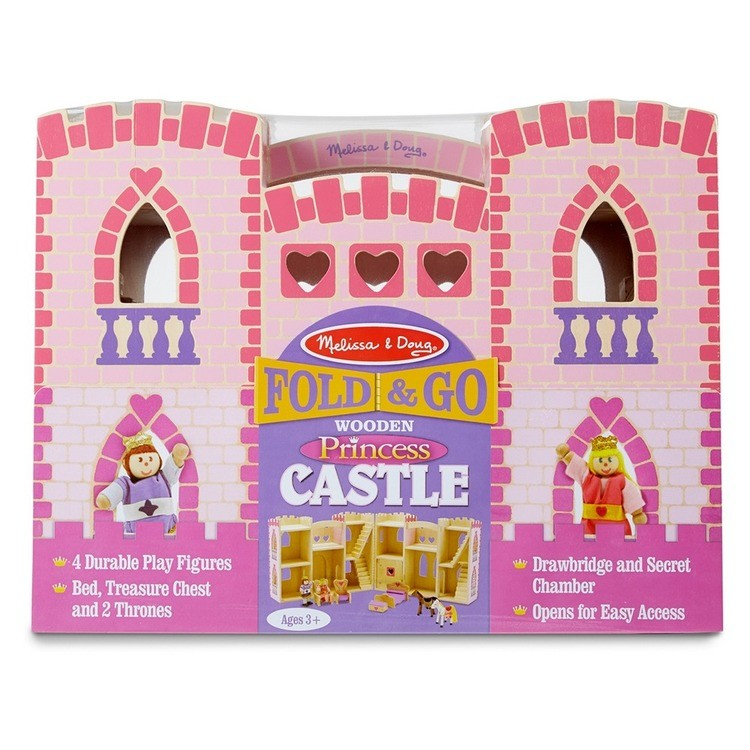 reasonable Melissa & Doug Fold and Go Wooden Princess Castle With 2 Royal Play Figures, 2 Horses, and 4pc of Furniture competitive cheap