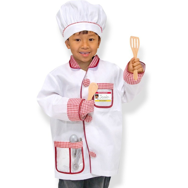 reasonable Melissa & Doug Chef Role Play Costume Dress -Up Set With Realistic Accessories, Adult Unisex, Red/Gold/red competitive cheap