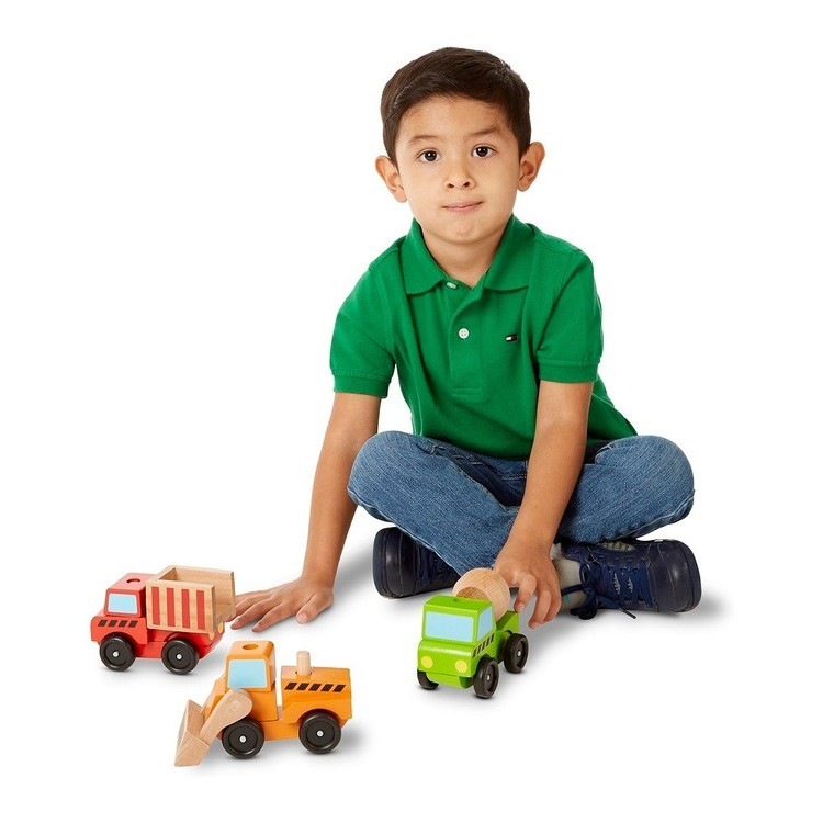 competitive Melissa & Doug Stacking Construction Vehicles Wooden Toy Set cheap reasonable