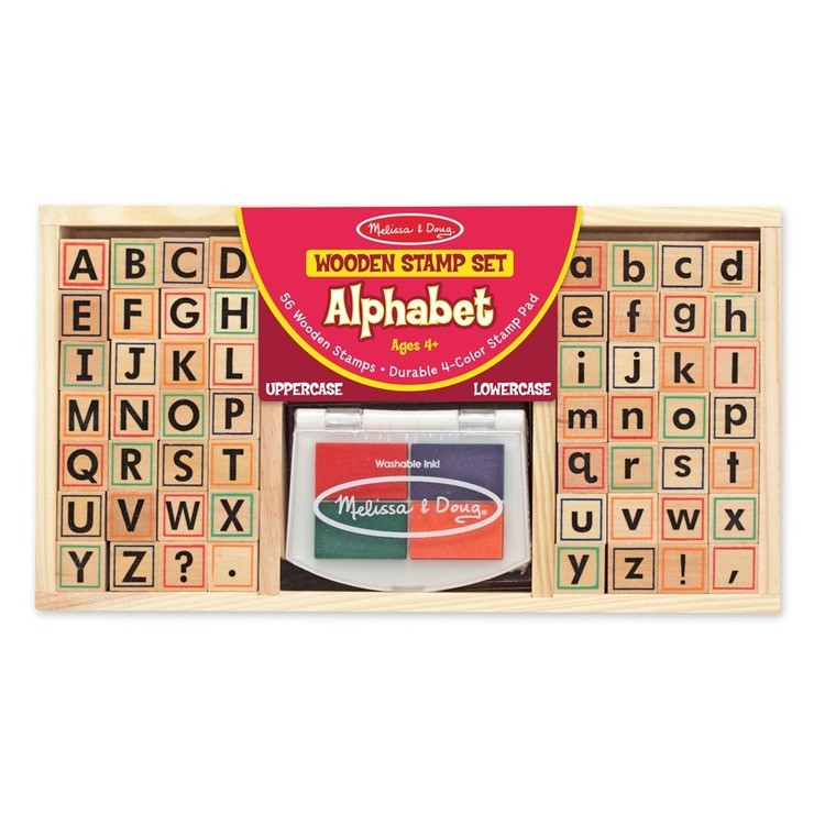 cheap Melissa & Doug Wooden Alphabet Stamp Set - 56 Stamps With Lower-Case and Capital Letters competitive reasonable