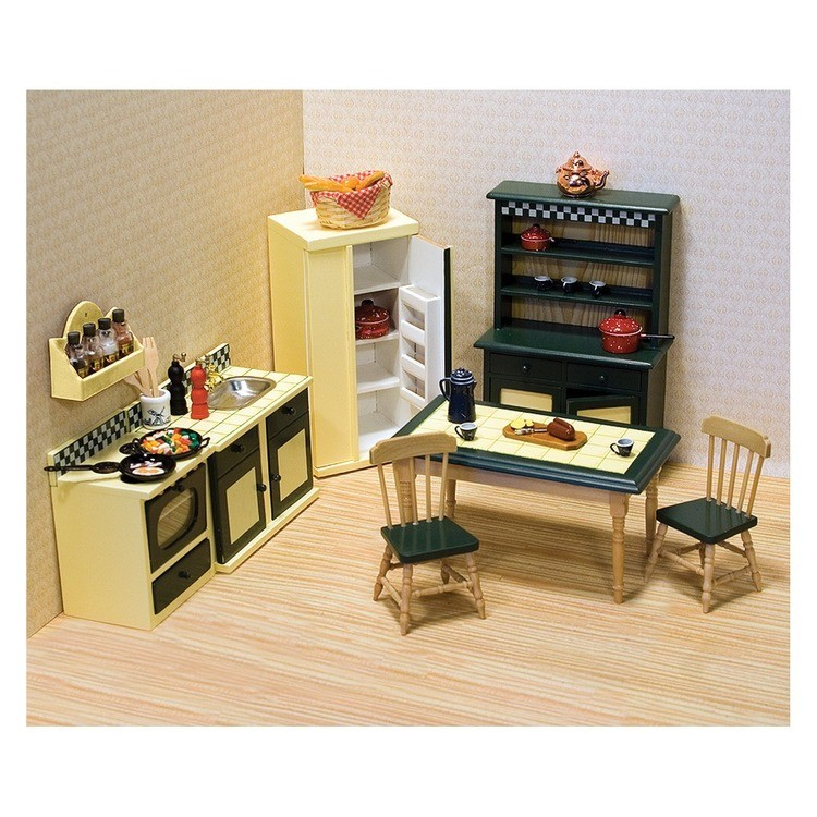 cheap Melissa & Doug Classic Wooden Dollhouse Kitchen Furniture (7pc) - Buttery Yellow/Deep Green reasonable competitive