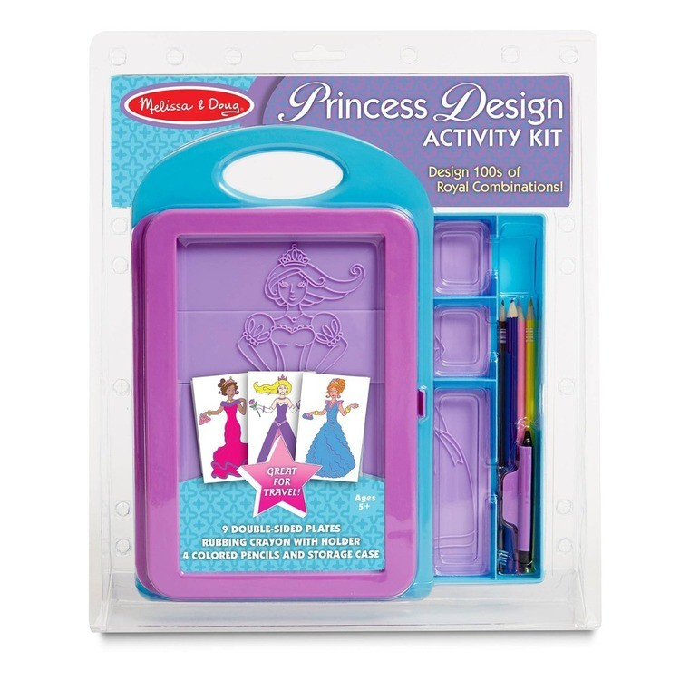 competitive Melissa & Doug Princess Design Activity Kit - 9 Double-Sided Plates, 4 Colored Pencils, Rubbing Crayon reasonable cheap