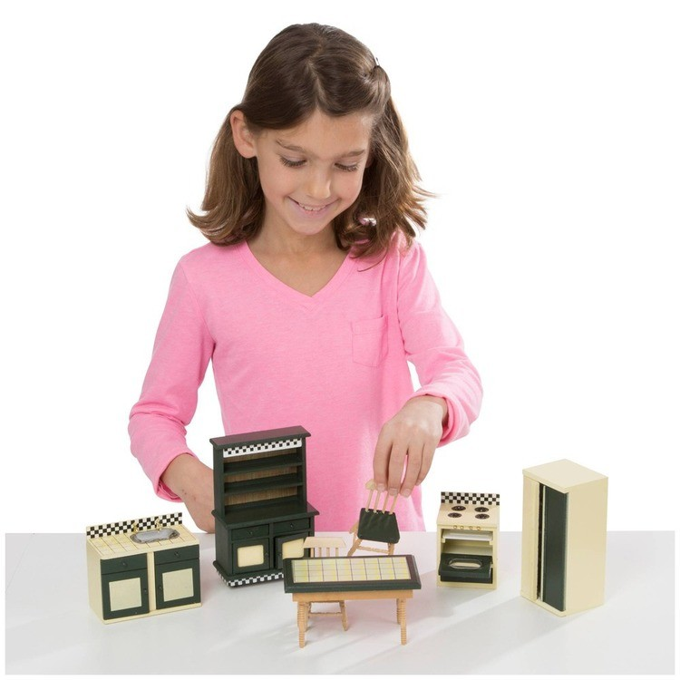 cheap Melissa & Doug Classic Victorian Wooden and Upholstered Dollhouse Furniture (35pc) competitive reasonable