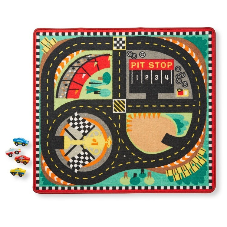 competitive Melissa & Doug Round the Speedway Race Track Rug With 4 Race Cars (39 x 36 inches) cheap reasonable