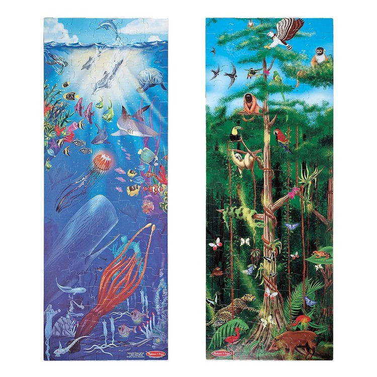 competitive Melissa & Doug Under the Sea and Rainforest Cardboard Floor Puzzle Set 2pc, Kids Unisex reasonable cheap