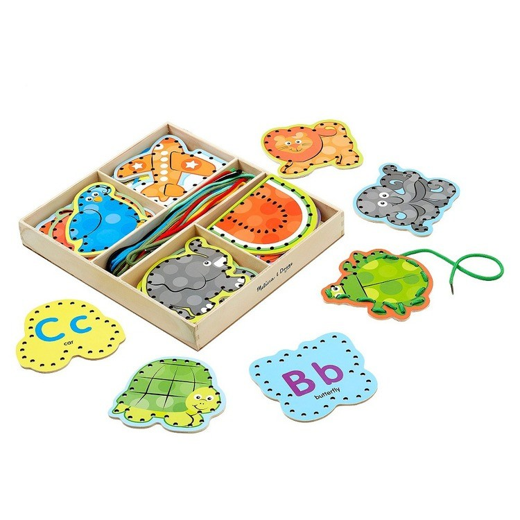 cheap Melissa & Doug Alphabet Wooden Lacing Cards With Double-Sided Panels and Matching Laces competitive reasonable