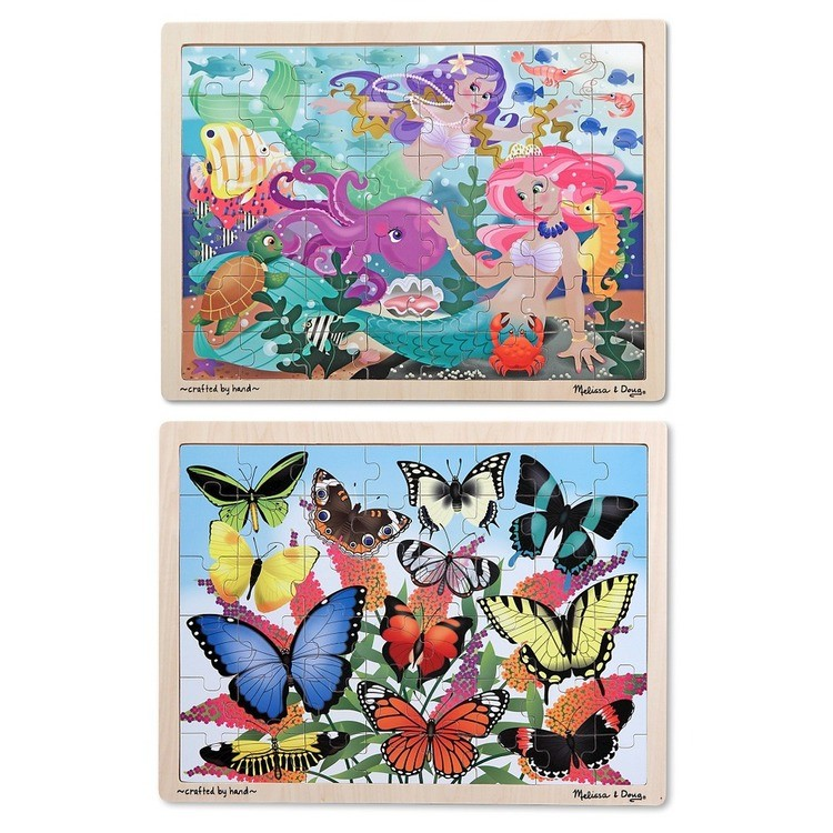 reasonable Melissa & Doug Wooden Jigsaw Puzzle Set - Mermaids and Butterflies 96pc competitive cheap