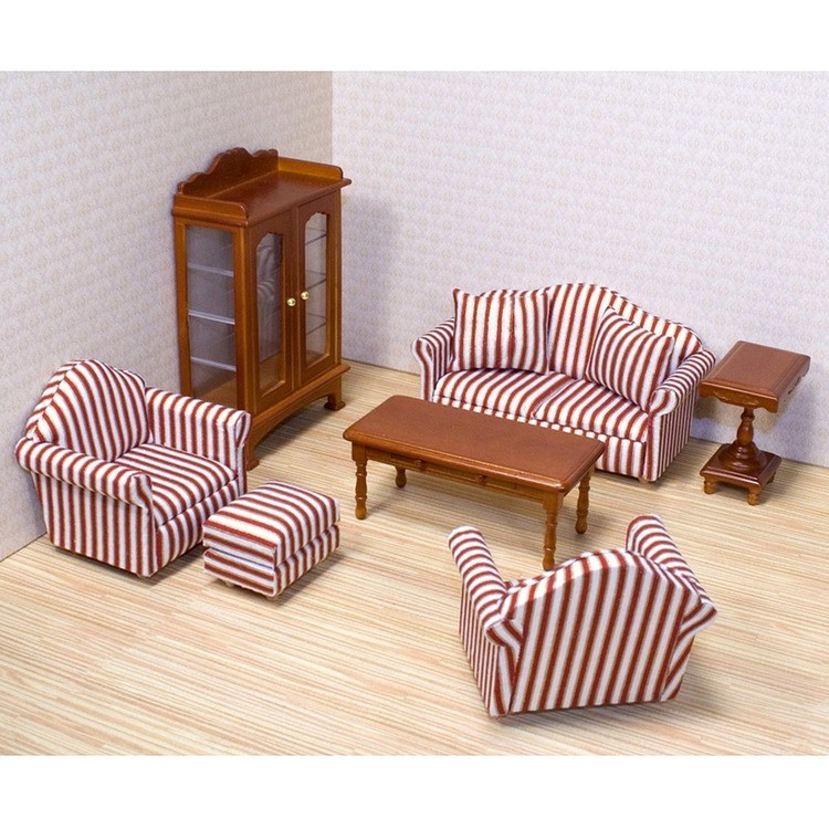 reasonable Melissa & Doug Classic Victorian Wooden and Upholstered Dollhouse Living Room Furniture (9pc) cheap competitive