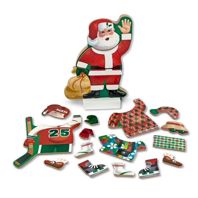 reasonable Melissa & Doug Santa Wooden Dress-Up Doll and Stand With Magnetic Accessories (22pc) competitive cheap