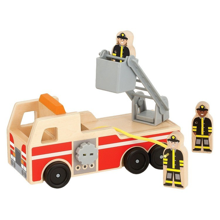 reasonable Melissa & Doug Wooden Fire Truck With 3 Firefighter Play Figures cheap competitive