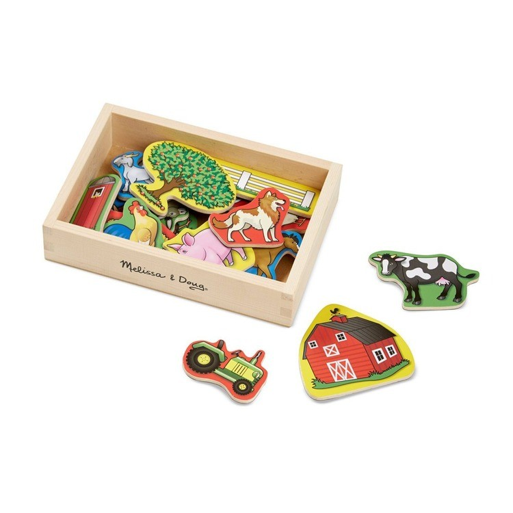 cheap Melissa & Doug Wooden Magnets Set - Shapes and Farm (45pc) competitive reasonable